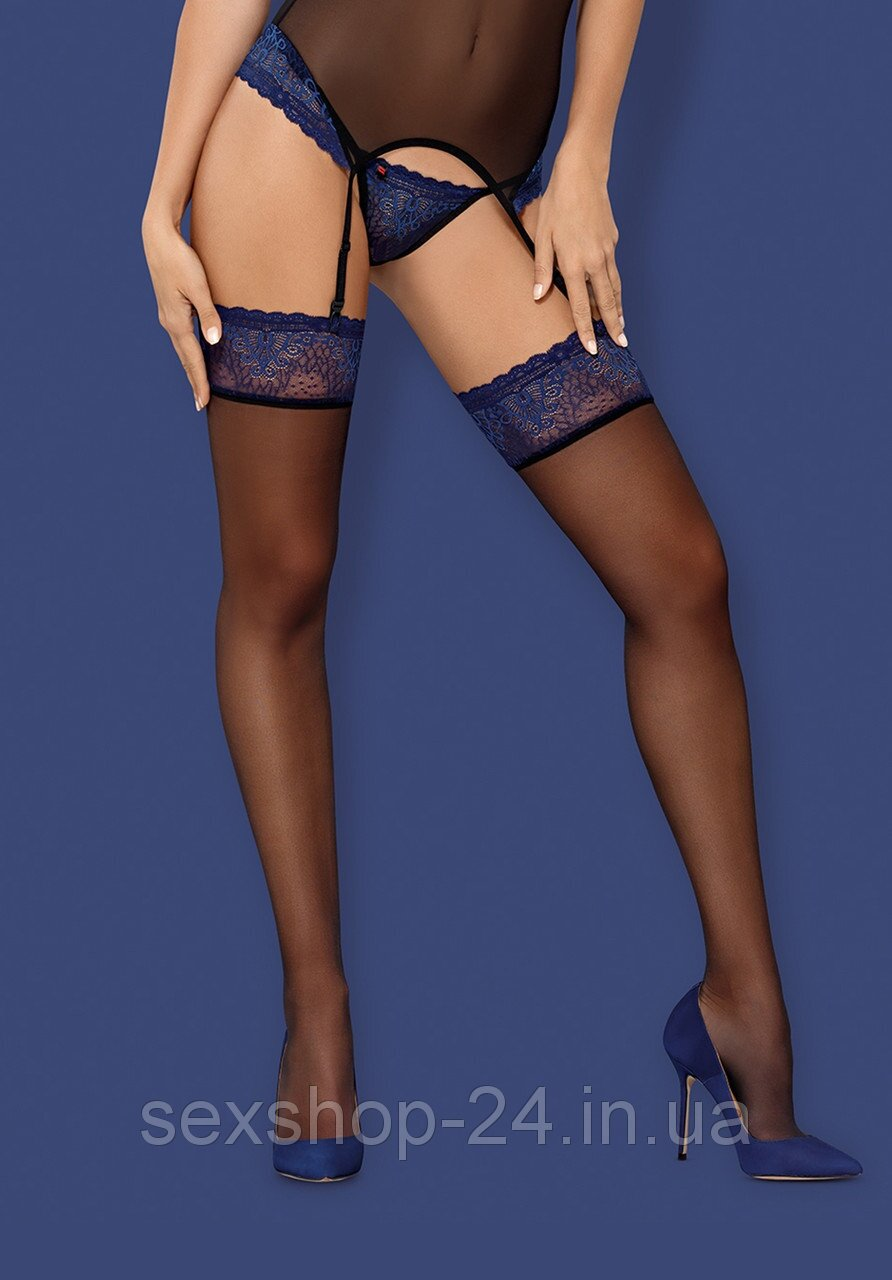 Чулки Obsessive 850-STO-6 stockings Черно-голубой L/XL