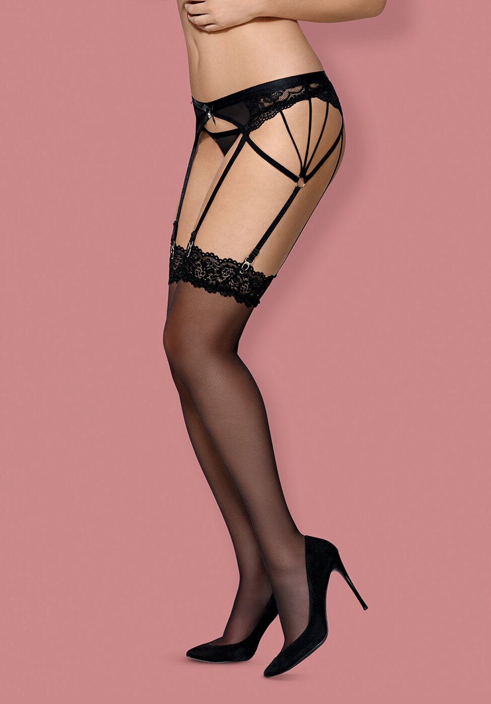 Чулки Obsessive 852-STO-1 stockings Черный L/XL